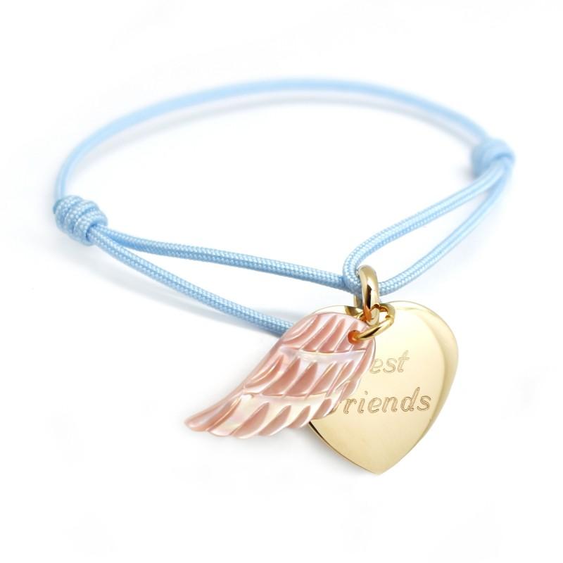 Bracelet Coeur aile d'Ange - Plaqué or