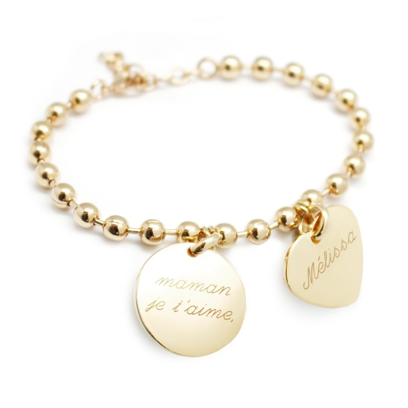 Bracelet chaine et médaille - Plaqué or