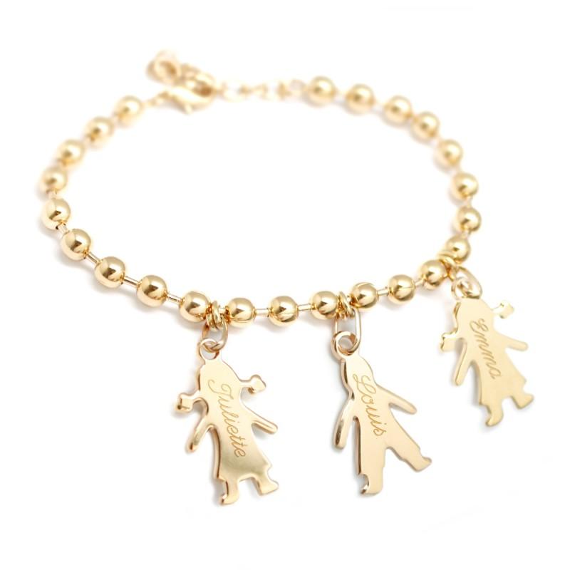 mode complet dans les spécifications acheter réel Bracelet chaîne plaqué or personnalisé- vente bracelet gravé chérubin  Composition 1 Charm