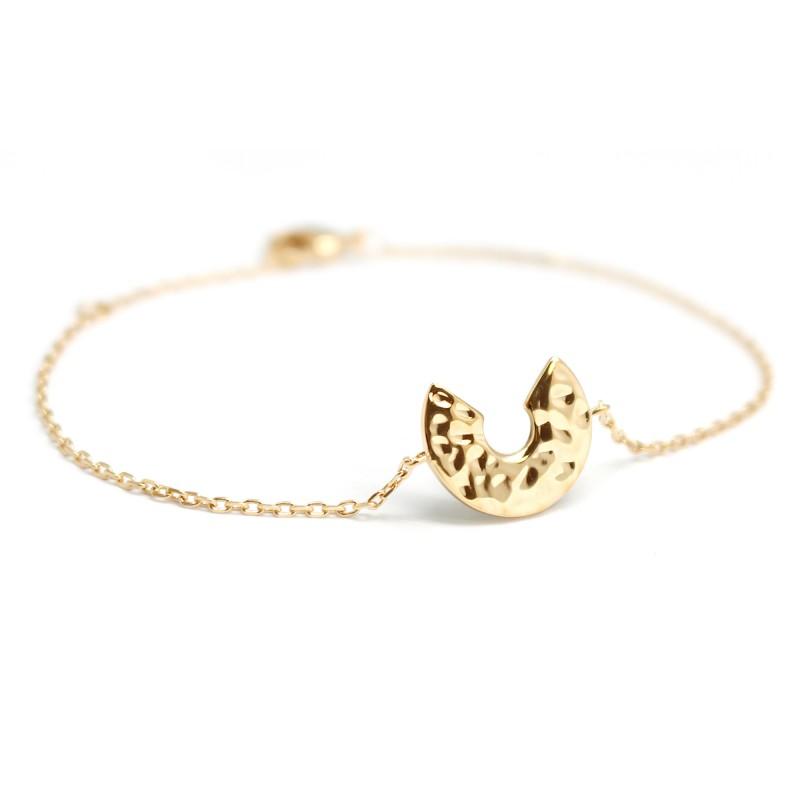 Bracelet Chaine lune martelée - Plaqué or