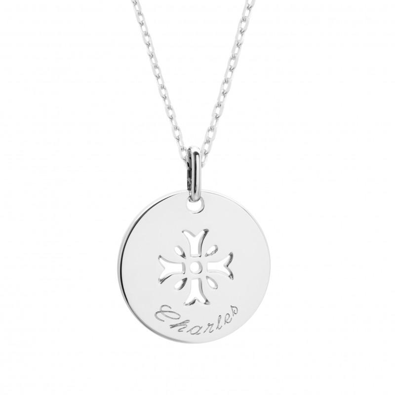 Gravé Argent Bapteme Enfantine Medaille Croix Typographie Pendentif Mimosa La Gravure De b7gYf6vymI
