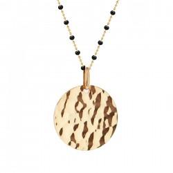 Pendentif petite médaille martelée - Chaine perles émaillées noires - Plaqué or