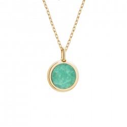 collier personnalisé or et pierre verte