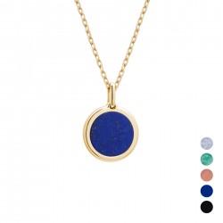 collier personnalisé or et pierre bleue