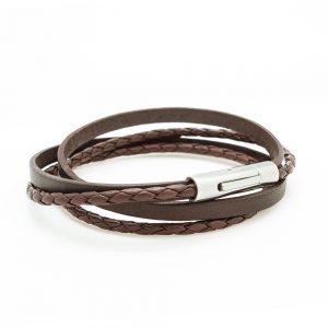 bracelet cuir tressé marron