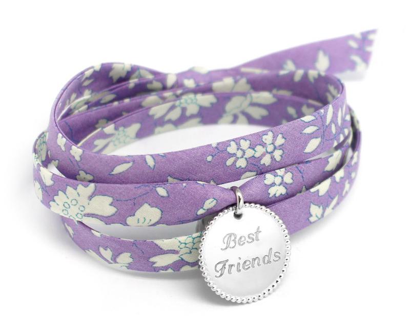 Bracelet liberty argent gravé Best Friends