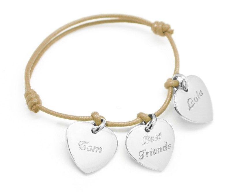 Bracelet coeur gravé Best Friends sur cordon