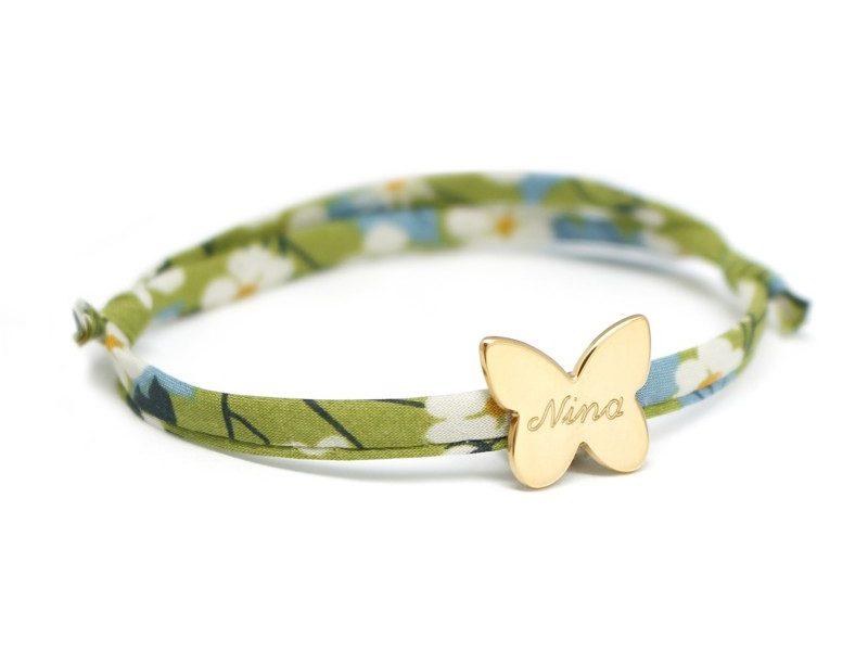 bracelet liberty prenom avec medaille papillon