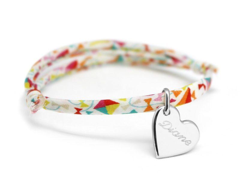 bracelet liberty prenom avec medaille coeur