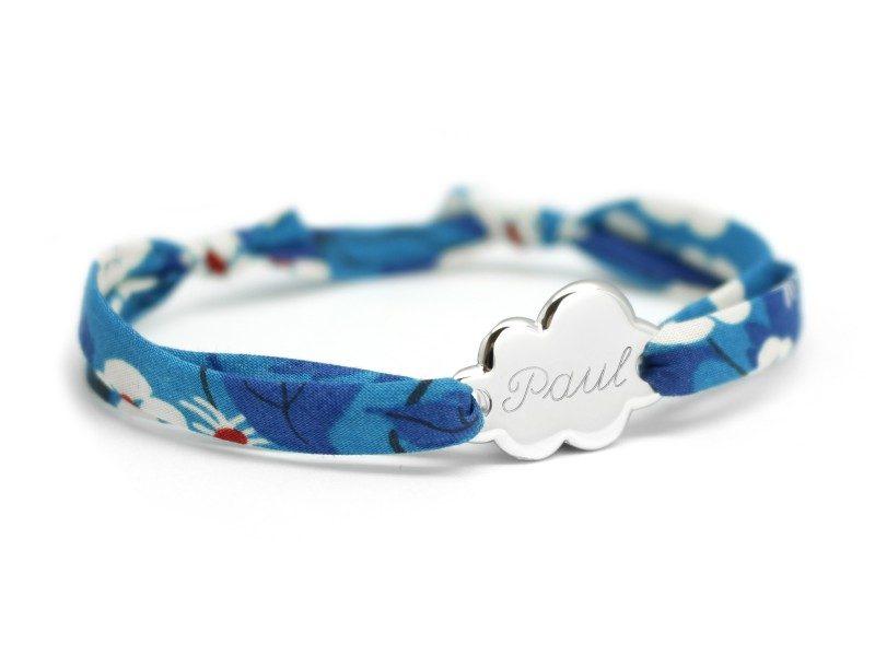 bracelet liberty prenom avec medaille nuage