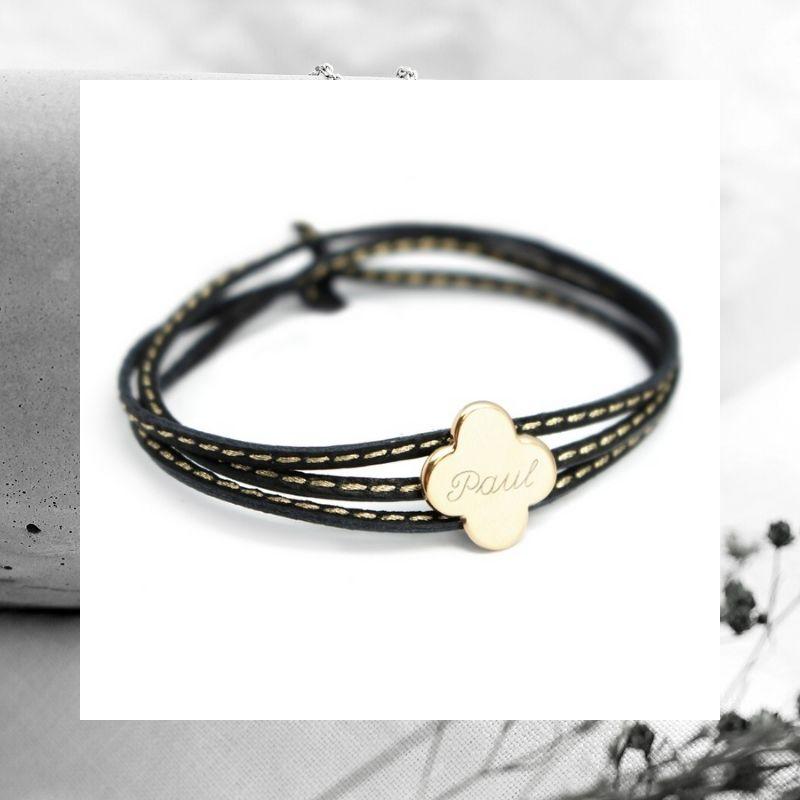 bracelet-trefle-cuir-personnalise