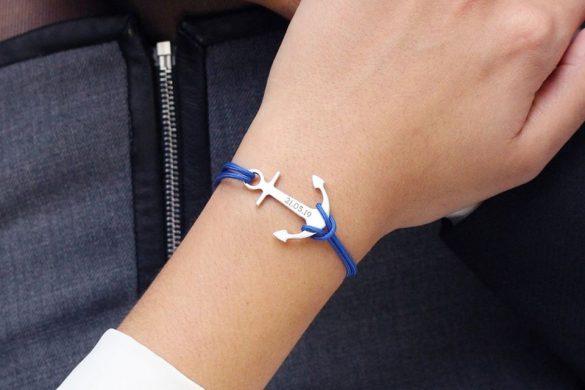 bracelet ancre marine personnalisable