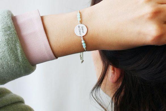 bracelet vert d'eau personnalisable